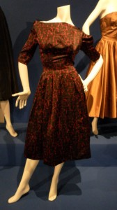 Hardy Amies, red and black printed cocktail dress, circa 1960