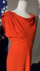 Hardy Amies, scarlet dress, 1980