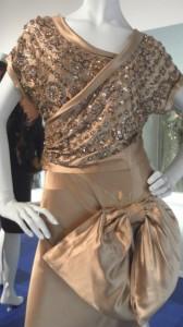 Norman Hartnell, pale bronze evening dress, circa 1946