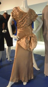 Norman Hartnell, pale bronze silk satin dress, circa 1946