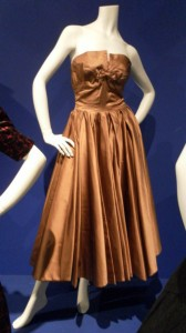 Hardy Amies, copper satin cocktail dress, 1952