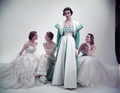 Models wearing Norman Hartnell for Vogue, 1953. Photographed by Norman Parkinson
