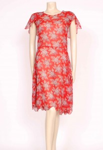 1920's red cotton day dress from Prim Vintage Fashion, £165